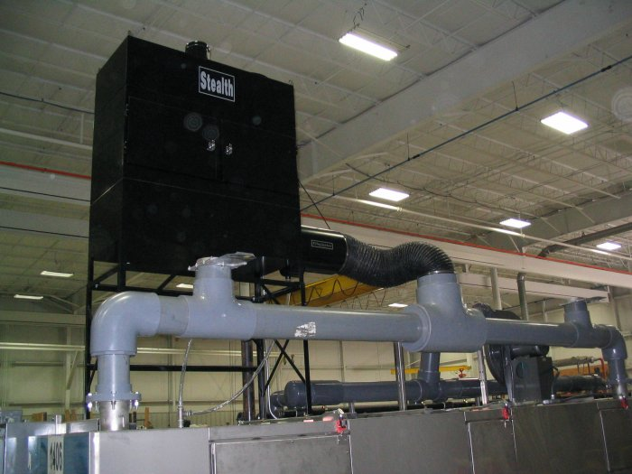 ST-3600V2 ducted to a multi stage parts washer